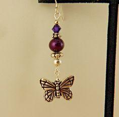 Silver Butterfly Charm Earrings w/ plum Swarovski crystals & freshwater pearls