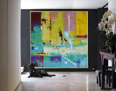 Hand Made Large Acrylic Painting On Canvas par CelineZiangArt