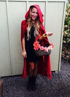 DIY Little Red Riding Hood costume - Halloween Costumes Women Black Dress Halloween Costume, Modest Halloween Costumes, Diy Costumes, Costumes For Women, Costume Ideas, Family Halloween, Halloween Party, Red Riding Hood Costume, Red Hood Costume