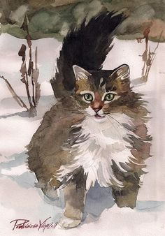 Tabby Cat Art Print of Watercolor Painting by creativeartistic