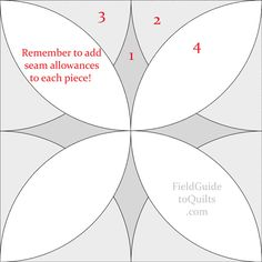 Alabama Beauty quilt block Diagrams for blocks with petal shapes