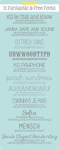 11 Fantastic and Free Fonts  http://alanandkatiesabin.blogspot.com/2012/11/11-fantastic-and-free-fonts.html#