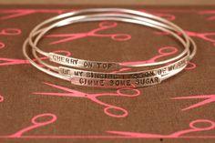 Silver Bangle Bracelet, Mother's Day gift, Custom Bangle Bracelet, sterling silver bangle with words, stacking bangle, personalized bangle