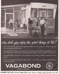 """Image detail for -Vintage ad for mobile homes promises """"the good things of life"""" - Found ..."""