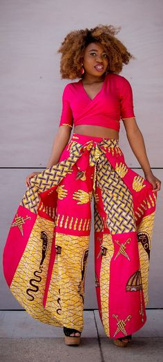 This African print palazzo pants set is freaking stunning. Such a beautiful, pink wrap-around trousers. Need this wrap around crop top in my life. African Dresses For Women, African Attire, African Wear, African Women, African Clothes, African Style, African American Fashion, African Inspired Fashion, African Print Fashion
