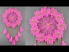 Woolen Craft Idea/Best Out of Waste Woolen Door Hanging/How To Make Wall Hanging for Room Decor - Crochet Hats Cape Tutorial, Flower Tutorial, Kids Crafts, Diy And Crafts, Woolen Craft, Crochet Cord, Scarf Crochet, Free Crochet, Artisanal