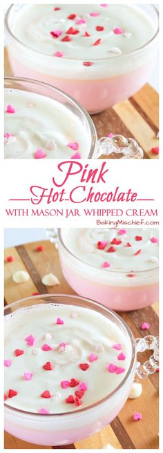 Pink Hot Chocolate with Mason Jar Whipped Cream - The cutest hot chocolate ever, with homemade whipped cream! Recipe includes nutritional information. Yummy Treats, Sweet Treats, Yummy Food, Tasty, Hot Chocolate Bars, Hot Chocolate Recipes, Chocolate Cream, Alcohol Chocolate, Cake Chocolate