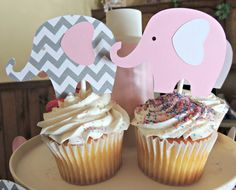 12 Chevron Gray & Pink Elephant Cupcake Toppers by Kirascollection