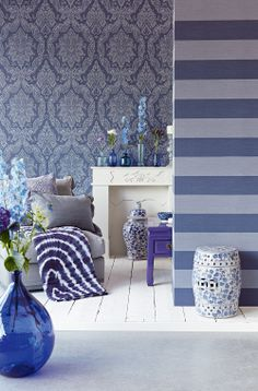 Classical #ornaments, charming #damask and medallions in modern #colours. #Contemporary #flower #silhouettes, grand #geometry and magnificent #stripes conclude the collection...Cast a spell on your #interiors with present day luxury from #Charm , #Eijffinger, #Goodrich