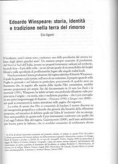 Edoardo Winspeare: storia, identità e tradizione nella terra del rimorso (2013)