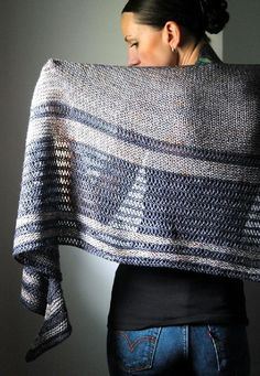 The open stitches give a chain mail appearance & make this piece a lighter weight with better movement. Ravelry: Asunder pattern by Lisa Mutch Knitted Shawls, Crochet Scarves, Crochet Shawl, Knit Crochet, Shawl Patterns, Knitting Patterns, Crochet Patterns, Yarn Projects, Knitting Projects