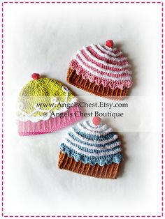 Crochet CUP CAKE Hat PDF Pattern Sizes Newborn to by AngelsChest