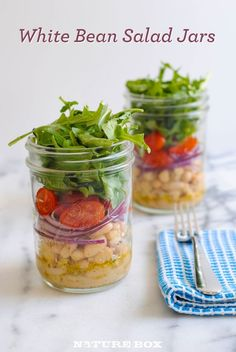 Homemade Lunch Recipe - Easy White Bean Salad in Mason Jars