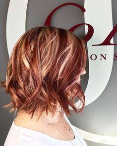Red and blonde highlight lowlight hair by Kristine Norris, lob haircut