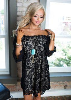 Dress, Short Dress, laced Dress, Off the shoulder Dress, Black Dress, Cute, fashion, Online Boutique - Modern Vintage Boutique
