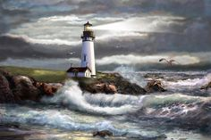 Oregon Lighthouse Beam Of Hope Art Print by Regina Femrite.  All prints are professionally printed, packaged, and shipped within 3 - 4 business days. Choose from multiple sizes and hundreds of frame and mat options.