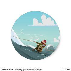 Cartoon Rock Climbing Classic Round Sticker