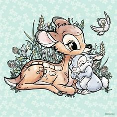 INSPIRED by Disney cross stitch pattern-Bambi-animal-Characters-deer-silhouette-pdf Instant Download-easy-PT-184