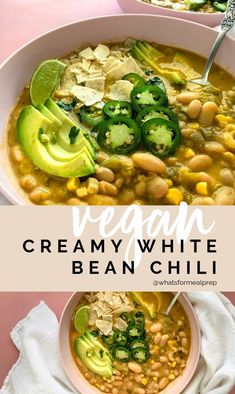 Vegan Creamy White Bean Chili - This high protein meal prep recipe is also vegan! This high protein meal prep recipe is also vegan! High Protein Meal Prep, High Protein Vegetarian Recipes, Vegetarian Meal Prep, Vegan Dinner Recipes, Vegan Foods, Vegan Dinners, Veggie Recipes, Whole Food Recipes, High Protein Snacks