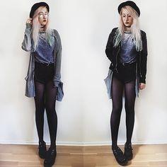 More looks by Lea Brande: http://lb.nu/lea_brande #hat #cardigan #grungelook #choker #altgirl #cozy #grunge