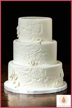 Embroidered flower wedding cake