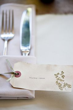 woodland wedding botanicals place cards3 Alyson + Levis Vintage Botanical Wedding Invitations