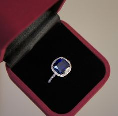 Ceylon-colored brilliant cushion-cut sapphire halo ring, micropave, alternative engagement ring or right-hand ring (Size 5 1/4, design no. 2)