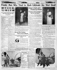 """""""Frantic men who tried to rush lifeboats are shot dead"""" headline on Page 7 of April 1912 Denver Post. Newspaper Report, Newspaper Article, School Days, School Stuff, World Breaking News, Denver Post, Rms Titanic, Teaching History, April 19"""
