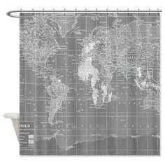Shower Curtain - Minimalist Grey Vintage Map - Home Decor travel decor wanderlust - Bathroom