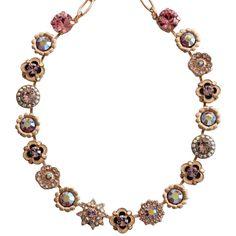 "Mariana Rose Gold Plated Flower Garden Swarovski Crystal Necklace, 17""Pink Petal. Available at www.regencies.com"