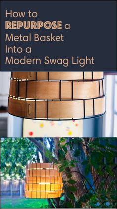 VIDEO: How to Repurpose a Metal Basket Into a Modern Swag Light - Make your very own repurposed metal basket swag light! This light fixture is perfect to hang inside - Outdoor Chandelier, Diy Chandelier, Modern Chandelier, Chandeliers, Hanging Light Fixtures, Hanging Lights, How To Make Metal, Swag Light, Metal Baskets