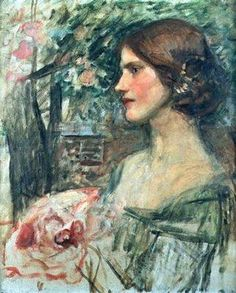 ⊰ Posing with Posies ⊱ paintings of women and flowers - John William Waterhouse,The Bouquet (study)