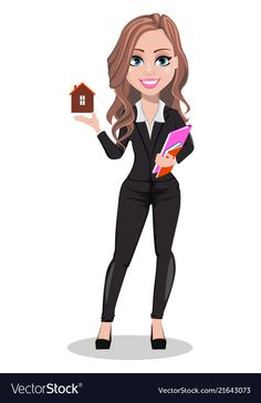 Beautiful realtor woman a real estate agent vector image on VectorStock Female Cartoon, Couple Cartoon, Business Cartoons, Corporate Women, Real Estate Career, Character Illustration, Cartoon Drawings, Cartoon Characters, Business Women