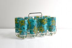 Mid Century Aqua and Avocado Floral Glasses with by WiseApple, $120.00
