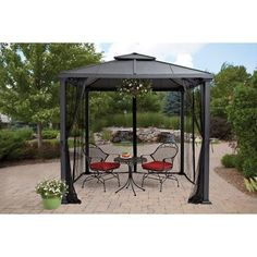 8' x 8' Durable Metal, Sullivan Ridge Hard Top Gazebo with Netting, Black > Stylish design Sturdy frame for durability Weather-resistant powder coating UV-resistant fabric Mesh curtains zip close or tie back Tip and rust resistant 8' x 8' Better Homes and Gardens gazebo is made of durable metal Easy to assemble: tools provided Check more at http://farmgardensuperstore.com/product/8-x-8-durable-metal-sullivan-ridge-hard-top-gazebo-with-netting-black/