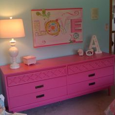 Retro furniture painted with oil-based paint for little girl's room