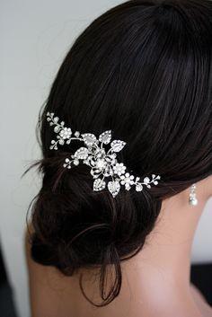 Bridal Hair Comb, Wedding Hair Piece with Swarovski Crystal flowers, Leaves and Vines, Pearl and Rhinestone Side Comb, HARLOW VINE. $95.00, via Etsy.