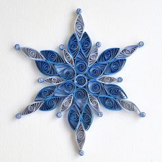 6 point blue mix quilled snowflake with silver glitter   Flickr
