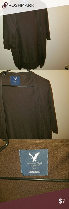 American Eagle cardigan Work but still in good condition. Brown size medium. Super cute. Great for the fall season. ***bundle to save. American Eagle outfitters Sweaters Cardigans