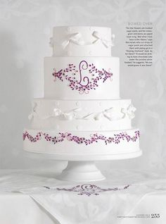 Lilac Flowers & White Ribbons - Birthday Cake