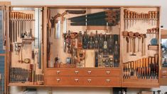 Woodworking Tool Cabinet, Essential Woodworking Tools, Antique Woodworking Tools, Woodworking Workshop, Fine Woodworking, Woodworking Projects, Woodworking Garage, Intarsia Woodworking, Woodshop Tools