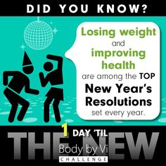 Losing weight and improving health are the TOP New Year's Resolutions each year! Get on it!