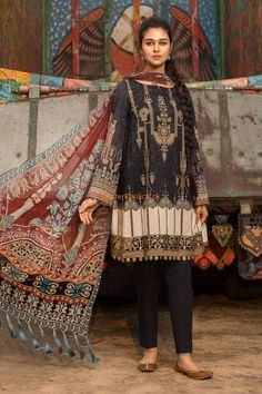 M Prints Maria B Printed Embroidered Lawn Collection consists of beautiful 3 piece lawn printed embroidered designer suits in reasonable prices Pakistani Fashion Casual, Pakistani Dresses Casual, Pakistani Dress Design, Indian Dresses, Casual Dresses, Fashion Dresses, Women's Casual, Indian Fashion, Casual Outfits