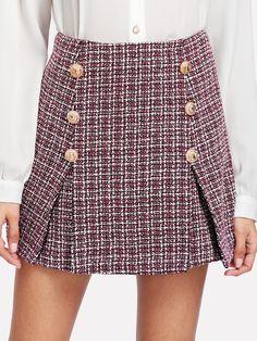 06fe91d1a6 Double Button Tweed Skirt -SheIn(Sheinside) Plaid Skirts, Mini Skirts, Skirt