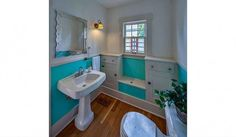 Built ins in this configuration in the bathroom is genius!