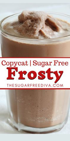 This easy recipe for a sugar free version of a chocolate milk shake frosty copycat beverage that has no added sugar. Great for dessert, snack, summer, holiday, and gatherings. Diabetic Friendly Desserts, Easy Gluten Free Desserts, Sugar Free Desserts, Sugar Free Recipes, Baking Recipes, Diabetic Recipes, Strawberry Desserts, Frozen Desserts, Fun Desserts