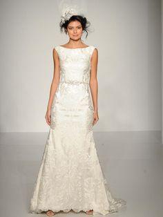 Maggie Sottero bateau neckline lace gown