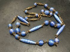 Vintage Bohemian satin glass beaded necklace periwinkle