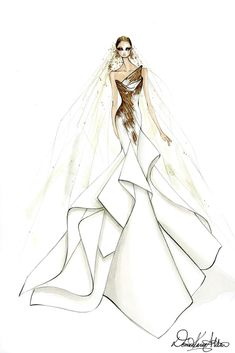 Lady Gaga Wedding Dress Sketches That Left The Star Speechless: Donna Karan Atelier