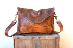 NEW//Thick Brown Bison Hide Clutch with Handle and by arebycdesign, $112.00